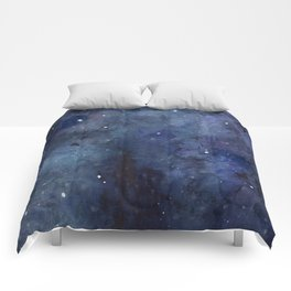 Night Sky Stars Galaxy | Watercolor Nebula Comforters