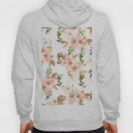 Hand painted coral white forest green watercolor floral Hoody