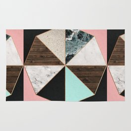 Rose Gold Hexagon Pattern Rug