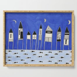 Tiny houses and fish in blue Serving Tray