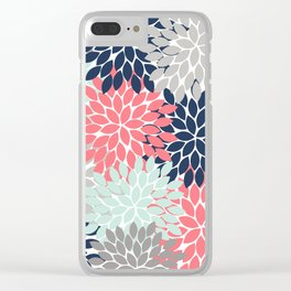 Flower Burst Petals Floral Pattern Navy Coral Mint Gray Clear iPhone Case
