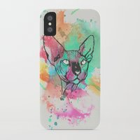 sphynx iPhone & iPod Cases featuring Watercolor Sphynx by Zeke Tucker