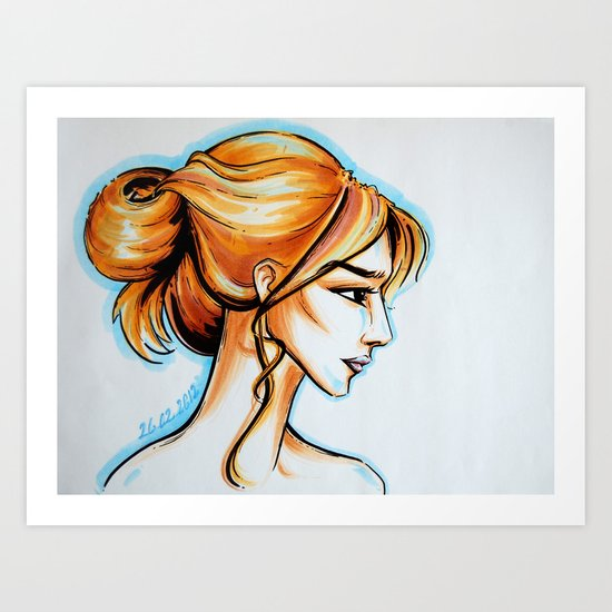 blonde girl Art Print