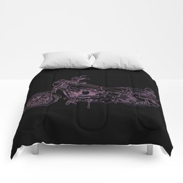 red white and blue on black Comforters