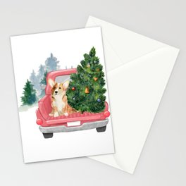 Driving Home For Christmas - Corgi On Red Xmas Car  Stationery Cards