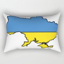 Ukraine Map with Ukrainian Flag Rectangular Pillow