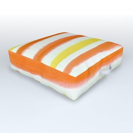 Orange & Yellow Watercolor Stripes Outdoor Floor Cushion