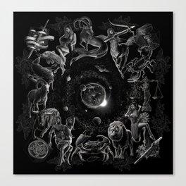 XXI. The World Tarot Card Illustration (Zodiacs) Canvas Print