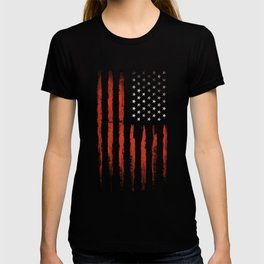 American flag Grunge Black T-shirt