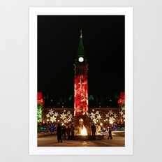 Peace Tower on Christmas Art Print