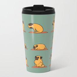 Pug Yoga Metal Travel Mug