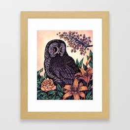 Great Grey Owl At Sunset Framed Art Print