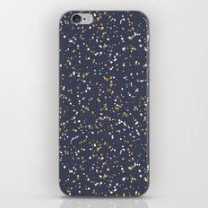 Speckles I: Dark Gold & Snow on Blue Vortex iPhone & iPod Skin