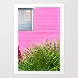 Vintage Pink Camper Trailer with Green Cactus Art Print