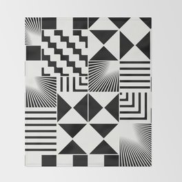 Mosaic Black And White Pattern Throw Blanket