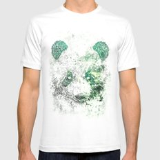 Green Panda Bear Mens Fitted Tee MEDIUM White