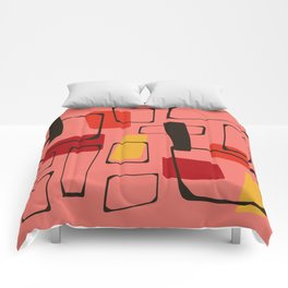 Bold Orange Art Deco Comforters