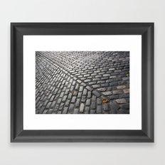 Leaves on cobblestones Framed Art Print
