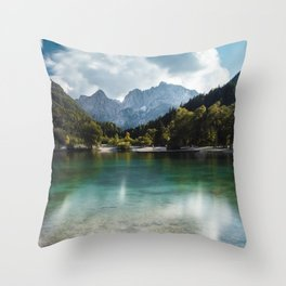 Lake Jasna in Kranjska Gora, Slovenia Throw Pillow