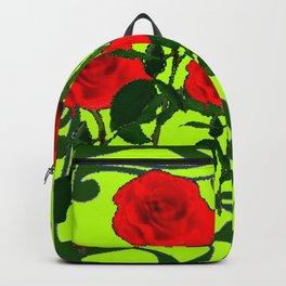 GREEN DESIGN RED ROSES ART Backpack