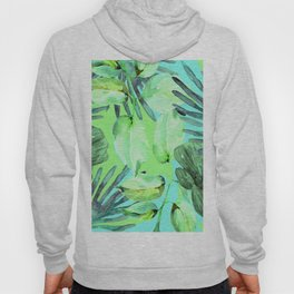 TROPICAL FERNS AND FLOWERS IN SHADES OF GREEN - BLUE- TURQUOISE Hoody