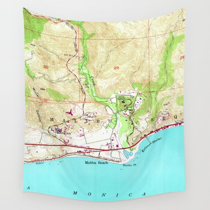 Map Of California Malibu.Vintage Map Of Malibu California 1950 Wall Tapestry By