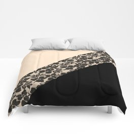 Elegant Peach Ivory Black Floral Lace Color Block Comforters