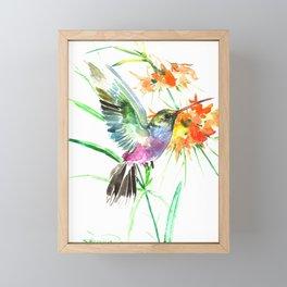 Hummignbird and Flowers Framed Mini Art Print