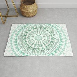 Mint White Geometric Mandala Rug