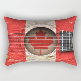 Old Vintage Acoustic Guitar with Canadian Flag Rectangular Pillow