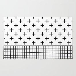Crosses, Criss Cross, Black and White Modern Rug