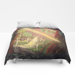 Faery forest cave Comforters
