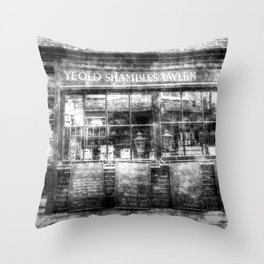 Ye Old Shambles Tavern York Vintage Throw Pillow
