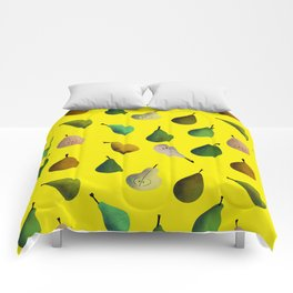 Pears pattern in yellow background Comforters