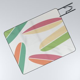 Abstract Retro Color Surfboards Picnic Blanket