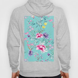 Chinoiserie Decorative Floral Motif Pale Turquoise Hoody