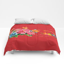 chinese peonies and phoenix Comforters