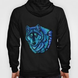Blue Wolf Aurora Colorful Fantasy Hoody