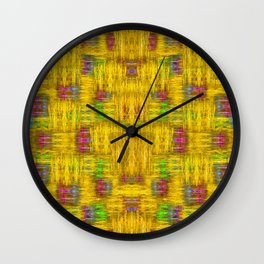 Rainbow stars in the golden sky scape Wall Clock