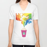 starbucks V-neck T-shirts featuring Starbucks Pop Art by Tiffany Taimoorazy