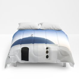 Santorini White and Blue Church View Comforters