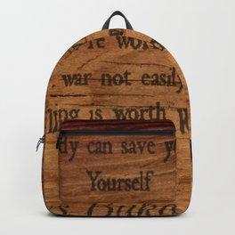 Charles Bukowski - wood - quote Backpack