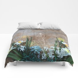 Daffodils Hyacinths Succulent Eucalyptus Spring Flat Lay Comforters