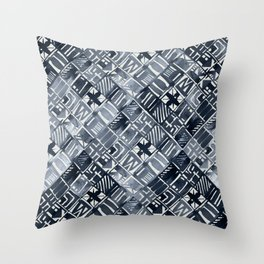 Simply Tribal Tiles in Indigo Blue on Lunar Gray Throw Pillow