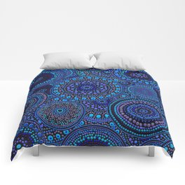 Dot Art Circles Blues Comforters