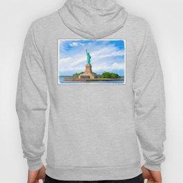 Landmark Statue Of Liberty On The Waters Of New York Harbor Hoody