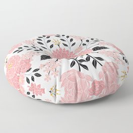 Pink, White, Black, Blue & Yellow Elegant Floral Pattern Floor Pillow