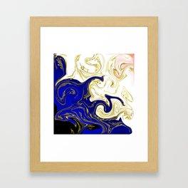 blue ,gold,rose,black,golden fractal, vibrations, circles modern pattern, Framed Art Print