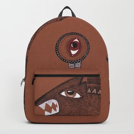 friendly monster says hello to the surreal eye Backpack