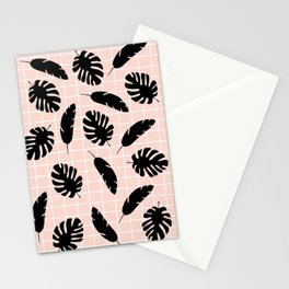 Graphic Tropical Leaves on Grid Black and Pink Stationery Cards